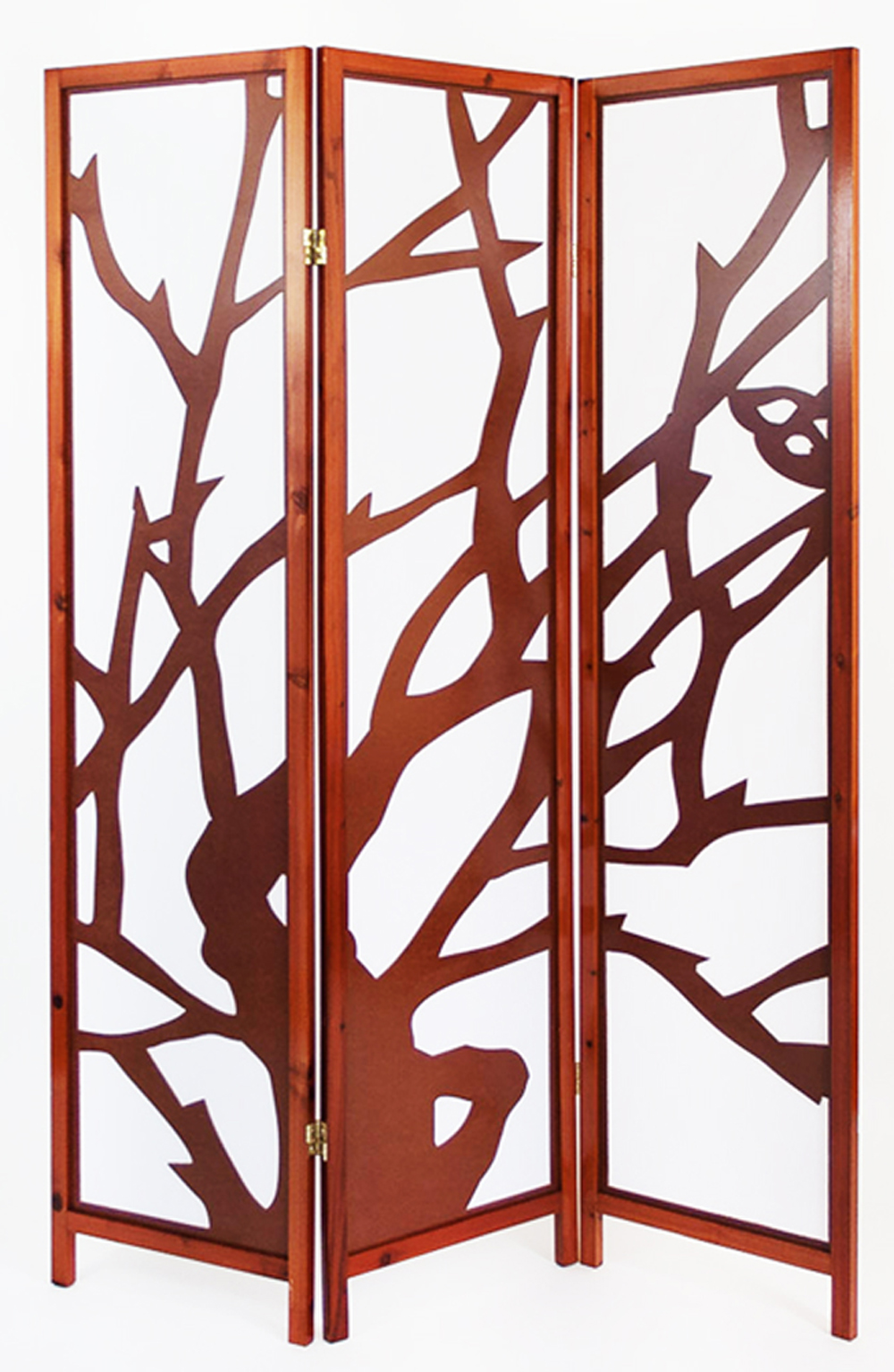 Paravent bois brun avec motif branches 3 pans - Paravent papier ...