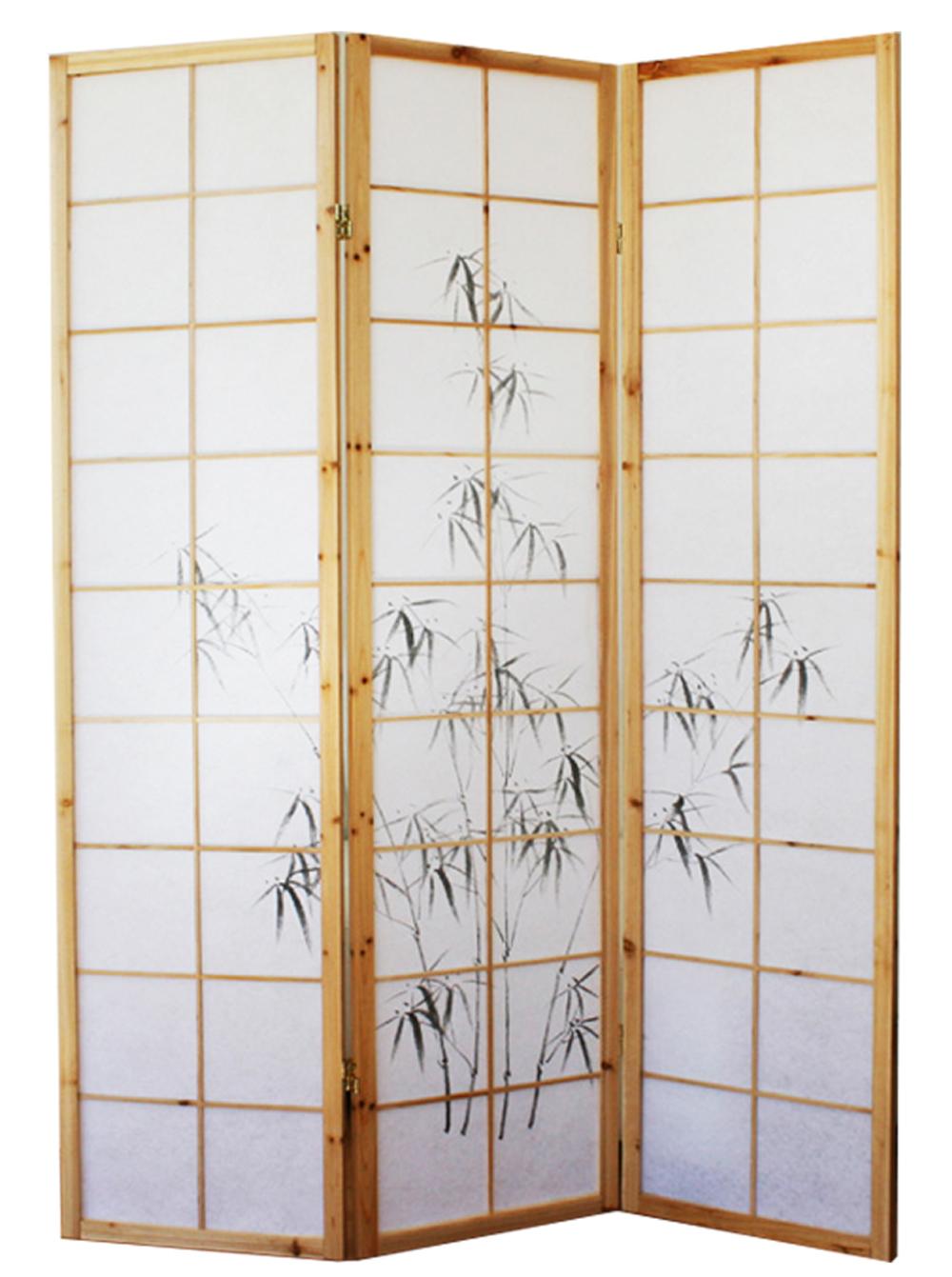 Paravent bois naturel avec dessin bambou noir 3 pans - Paravent papier ...