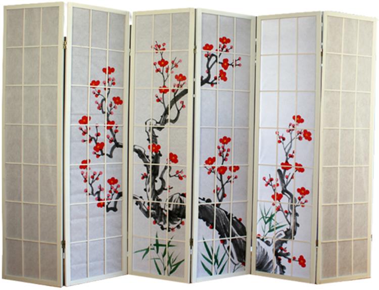 Paravent bois blanc avec fleurs de cerisier 6 pans - Paravents maison du monde ...