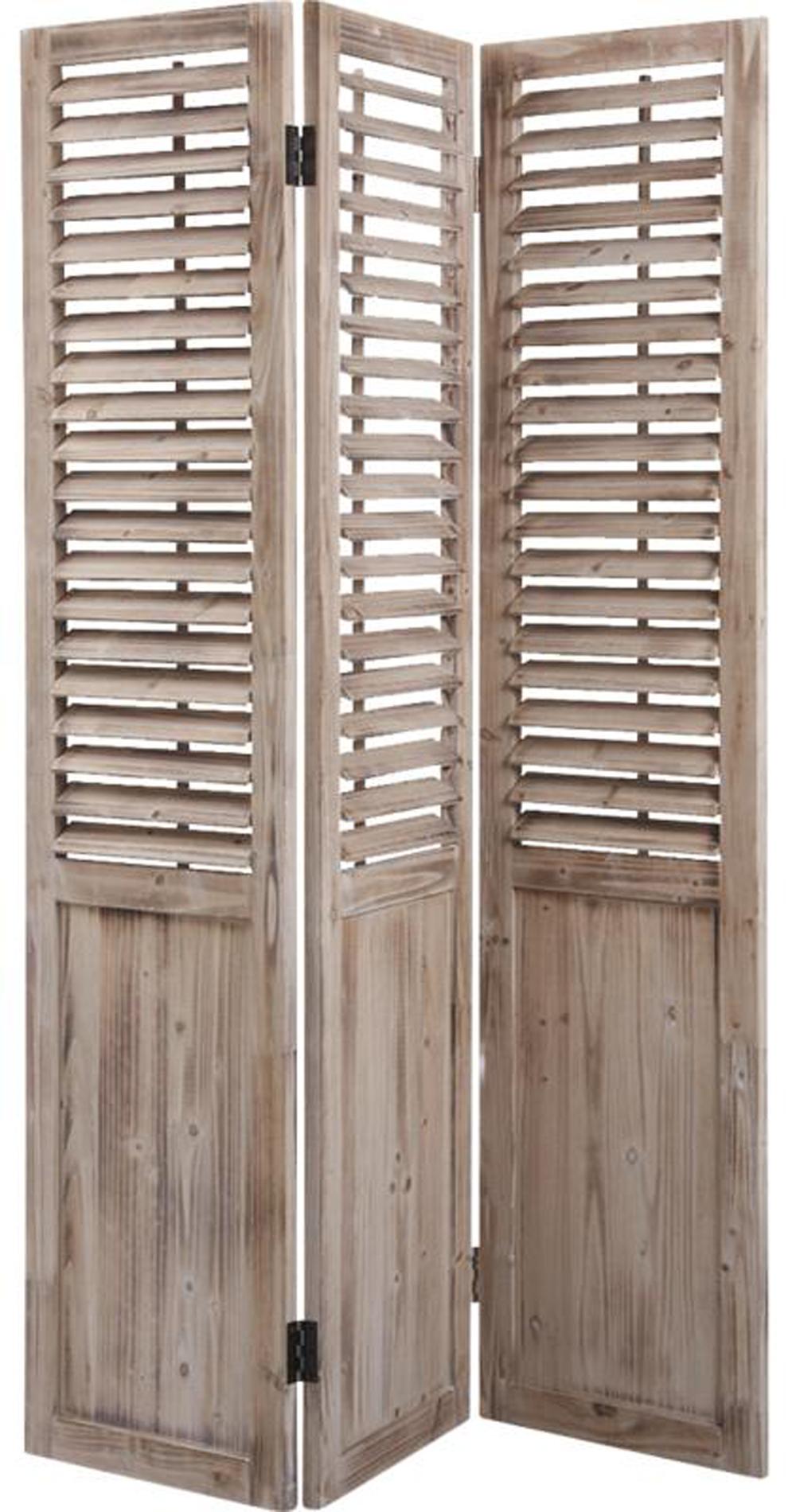 paravent en bois vieilli avec persiennes mobiles de 3 panneaux. Black Bedroom Furniture Sets. Home Design Ideas